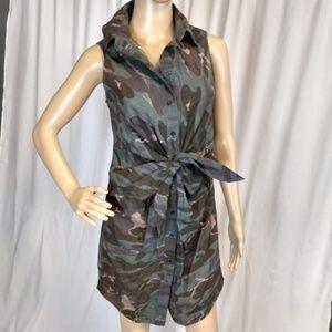 Moda International Tie Front Camouflage ShirtDress